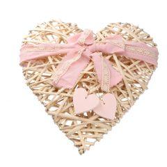 Hänger Herz mit Schleife, natur/rosa, 40 cm