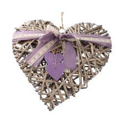 Hänger Herz mit Schleife, grau/lila, 40 cm