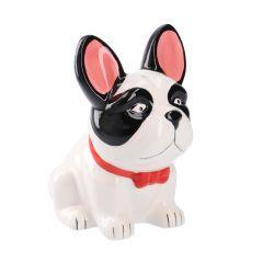 Spardose Hund, rote Schleife, 17 cm