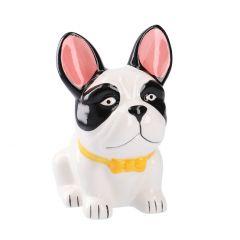 Spardose Hund, gelbe Schleife, 17 cm