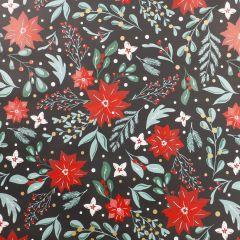 Geschenkpapier Nordic, Blüten/schwarz, 2 m