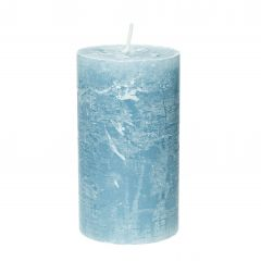 Kerze Rustik, Lara, blau/grau, 12 cm