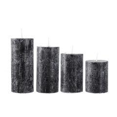 4er Set Kerze Rustik, gestuft, schwarz