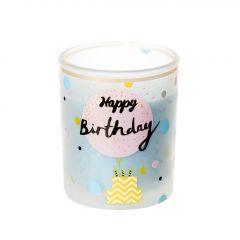 Kerze im Glas, Birthday, pastellblau