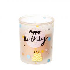 Kerze im Glas, Birthday, pastellorange