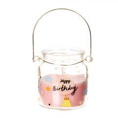 Kerze im Glas, Happy Birthday, rosa-transparent