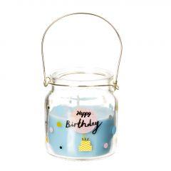 Kerze im Glas, Happy Birthday, blau