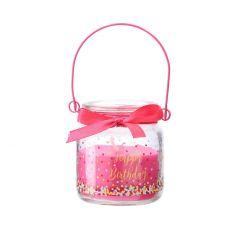 Kerze im Glas, Happy Birthday, pink, Konfetti