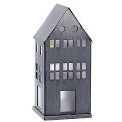 LED-Haus Metall, grau-antik, 16.5 cm