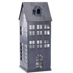 LED-Haus Metall, grau-antik, 21 cm