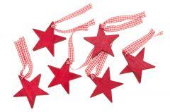 6er Set Anhänger Karoband, Stern, rot