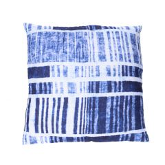 Kissen Muster, Streifen, blau/weiß, 40 x 40 cm