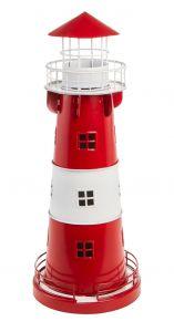 Windlicht Leuchtturm, rot, 34 cm