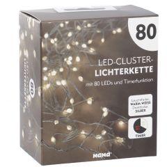 LED-Lichterkette Cluster, silber, 80er