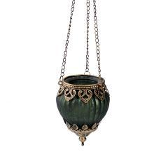 Windlicht Sheila, grün matt/gold antik, 43  cm