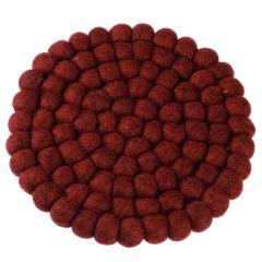 Untersetzer Filzkugeln, dunkelrot , 20 cm