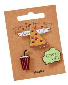 3er Set Pins, Pizza/Softdrink
