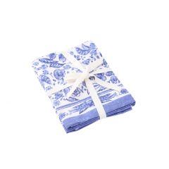 2er Set Stoffserviette Mina, blau/weiß