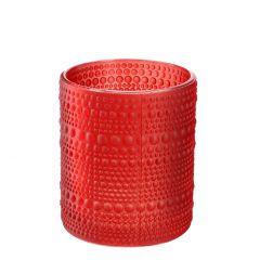 Windlicht Relief, Punkte, rot matt, 10 cm