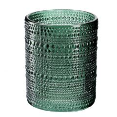 Windlicht Relief, Punkte, grün, 12 cm