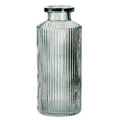 Flaschen-Vase Rillen, grün, 14 cm