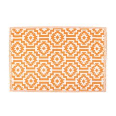Teppich Outdoor, Ethno orange/weiss, 120 x 180 cm