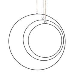 3er Set Deko-Ringe, schwarz/matt