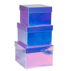 3er Set Geschenkkarton, Metallic