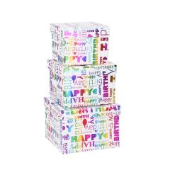 3er Set Karton holographisch, weiß/Happy Birthday