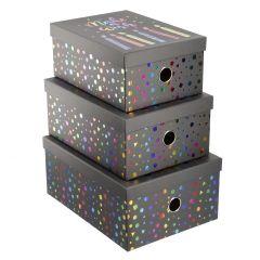 3er Set Geschenkkarton Wishes/Holo, schwarz