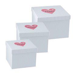 3er Set Geschenkkarton Vielen Dank, mint/weiße Streifen