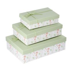 3er Set Geschenkkarton Motiv/Kordel, mintgrün