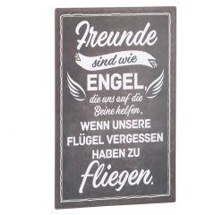 Schild Spruch, Freunde sind wie Engel, schwarz, 25 x 40 cm
