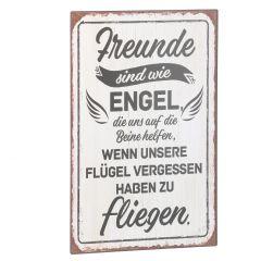 Schild Spruch, Freunde sind wie Engel, weiß, 25 x 40 cm