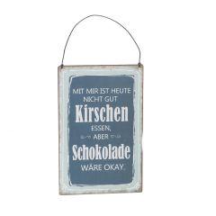 Schild Spruch, Kirschen, blau , 15 x 20 cm