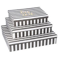 3er Set Karton Streifen, Für dich, schwarz-weiß