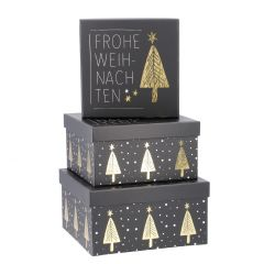 3er Set Geschenkkarton Xmas mit Spruch, Frohe Weihnachten