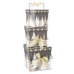 3er Set Geschenkkarton Henkel, Design, schwarz