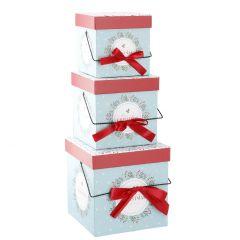3er Set Geschenkkarton Henkel, Beeren/Zweige