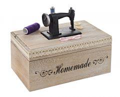 Holzbox Nähmaschine, 24 x 19 cm