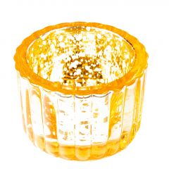 Teelichthalter Antik, gelb, 6 x 4 cm