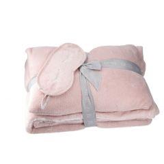 Set Decke/Kissen/Schlafmaske, rosa