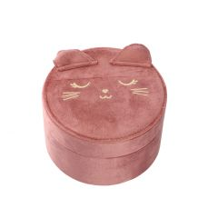 Dose Katze, Samt, altrosa, 14 x 8 cm