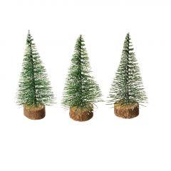 3er Set Tanne mit Schnee, Mini, grün, 6 cm