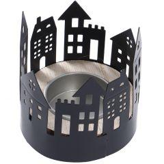 Teelichthalter Haus, rund, schwarz