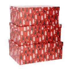 3er Set Geschenkkarton Baum, rot/schwarz/weiß