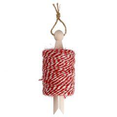 Kordel auf Spindel, rot/weiß, 50 m