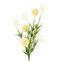Strauß 7 Pompons, gelb/weiß, 30 cm
