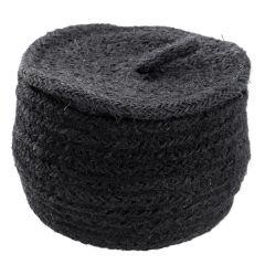 Korb Jute mit Deckel, schwarz, 12 cm