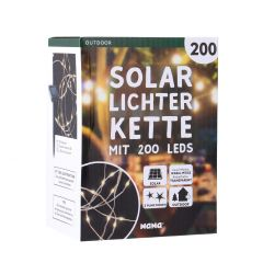 LED Solar-Lichterkette, warm-weiß, 200er, 10 m